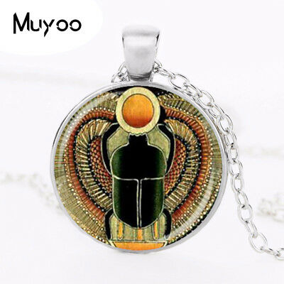 Pendant Necklace Jewelry Symbol Glass Scarab Charm Strength Ancient Dome Of