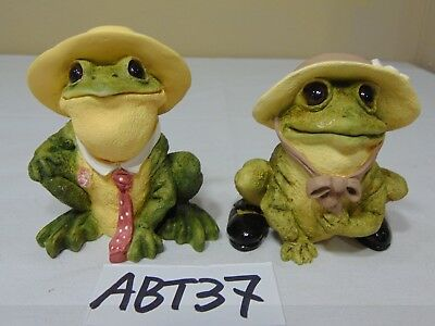 Vintage Lot Of 2 Stone Critter Bull Frogs Sc-903 Usa Made United Designs