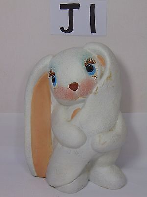 "Vintage Ceramic Pottery Long Eared Floppy Bunny Rabbit 5 1/2"" Tall Hand Painted"