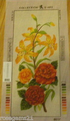 Collection D'Art Tapestry CANVAS ~ RED/ORANGE BOUQUET of FLOWERS
