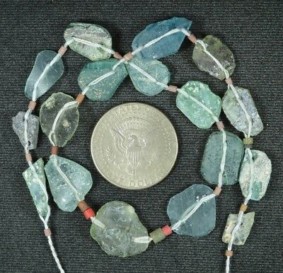 Ancient Roman Glass Beads 1 Medium Strand Aqua And Green 100 -200 Bc 862