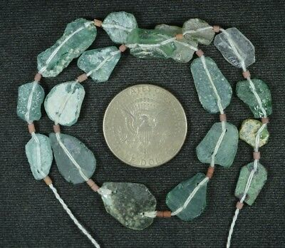 Ancient Roman Glass Beads 1 Medium Strand Aqua And Green 100 -200 Bc 863