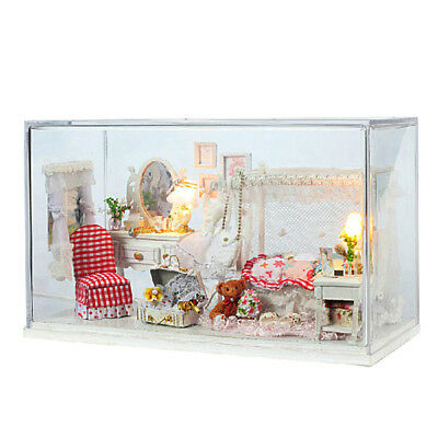 DIY Wooden Miniature Dollhouse Kits with LED Light, Dust Cover and Accessory