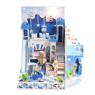 DIY Assembly Miniature Dollhouse Kit with LED Light, Dust Cover & Music Box