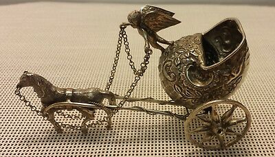 Victorian Silver Miniature Fantasy Shell Coach With Angel & Horse - Hallmarked
