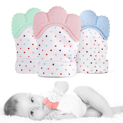 Silicone Baby Mitt Teething Mitten Glove Candy Wrapper Sound Teether Toy Gifts