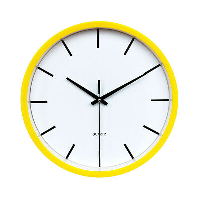 Large Round Wall Clock Numeral Quartz Battery Operated Easy Read 10'' Yellow