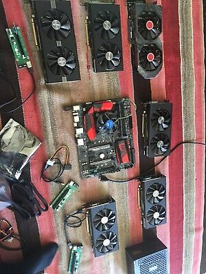 Whole Mining Rig (6x RX580 GPU cards, motherboard, power unit, CPU, RAM)