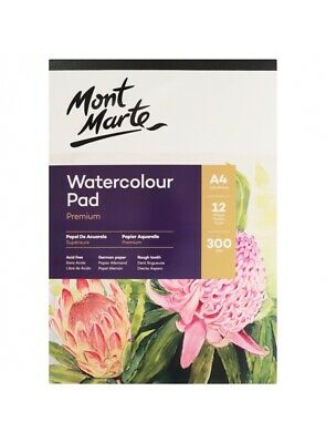 Mont Marte 300gsm Watercolour Pad -Rough Tooth German Paper Available in A4, A3