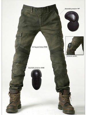 Hot Motorcycle Jeans With Pad Denim Biker Army Green Moto Pants Combat Pants