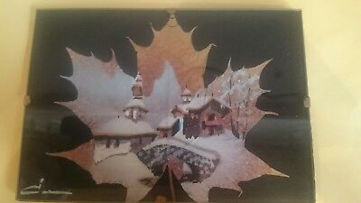 small french hand painted alpine christmas snow scene painted on a natural leaf