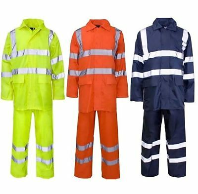 High Visibility PVC Rainwear Rain Suit Adult Work Wear Reflective Safety Dress
