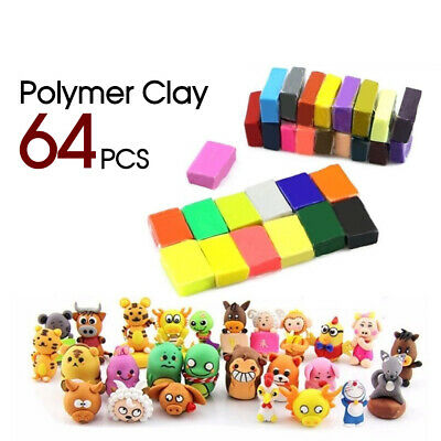 64pcs Clay Modelling Craft Polymer Toy Sculpey Moulding DIY Fimo Block Oven Bake