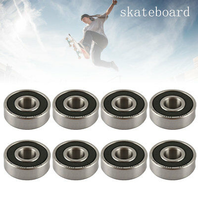8 x ABEC 11 SCOOTER BEARINGS *NEW* BLACK SHIELDS Silver 608RS
