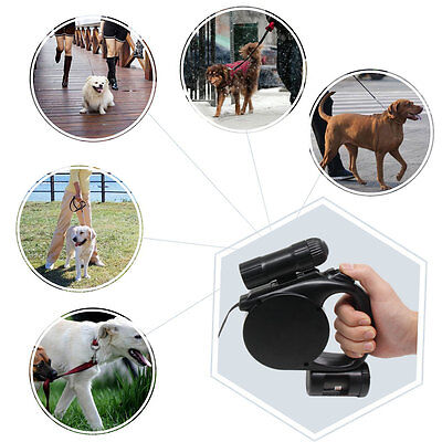 Retractable Dog Leash 16ft up to 88 lbs Belt with LED Flashlight and Waste Bags