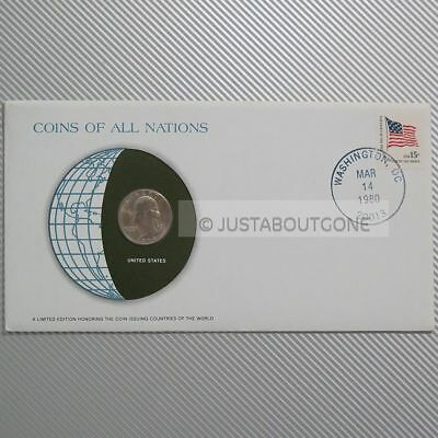 Usa Quarter Dollar 1979 Fdc Unc Pnc Coins Of All Nations Stamp 1980 Cover