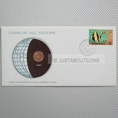 Kiribati 1 Cent 1979 Fdc Unc Coins Of All Nations Uncirculated Stamp 1980 Covers
