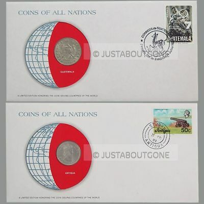 1965 Antigua + 1979 Guatemala ─ Coins Of All Nations Fdc Stamp 1981 Cover Unc