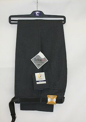 School flat front trousers Grey Trutex or David Luke NEW with belt Boys