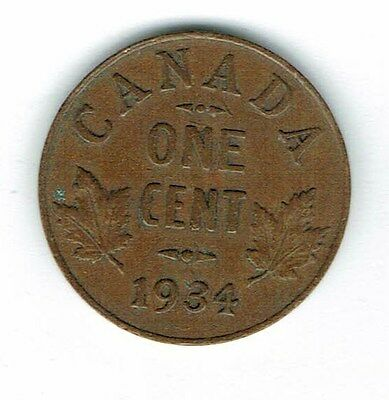 1934 Canadian Circulated George V One  Small Cent coin!