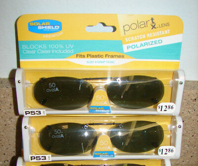 7c8ecf5dbb2 2 Solar Shield Polarized Clip On Sunglasses FITS PLASTIC FRAME 50 OVAL A