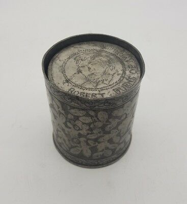 Antique Robert Burns Ayrshire Scotland Pewter Toasting Cups Unusual MUST SEE