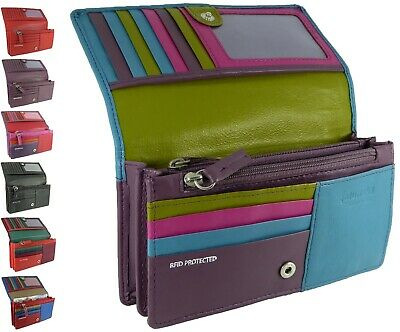 Ladies Real Leather Matinee Organiser RFID Purse - 10 card slots in 7 colours