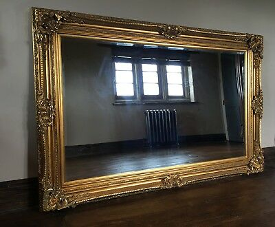 Large Antique Gold Statement Ornate French Floor Dress Leaner Wall Mirror 6ft