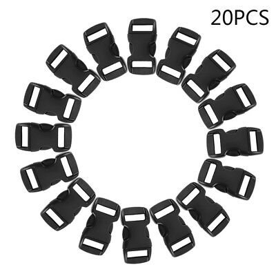 20Pcs Buckles for Paracord Bracelets Black Side Release Buckles AU Seller