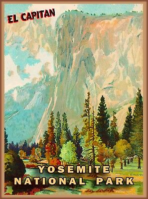 Yosemite National Park El Capitan California United States Travel Poster Print