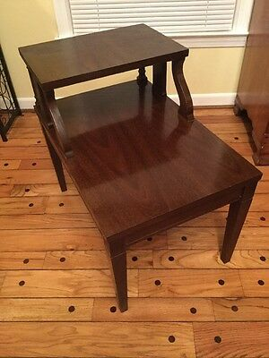 MERSMAN STEP END TABLE Walnut Formica Top Step Side Table By Mersman 25 1  Nice