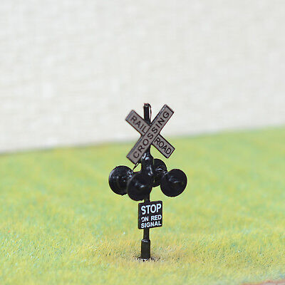 1 x HO Scale railway crossing signals LED made 4 heads