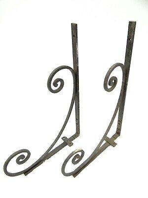Vintage Pair Old Black Metal Steel & Wrought Iron Porch Hardware Planter Hangers