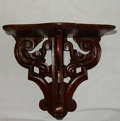 Vintage Carved Mahogany Wall Clock Bracket