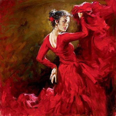 LMOP492 red dress dancing girl portrait hand painted art oil painting on canvas