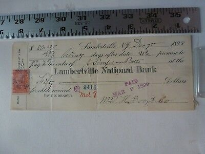 Cancelled Check With 2 Cent Revenue Stamp National Bank  Lambertville NJ 1898
