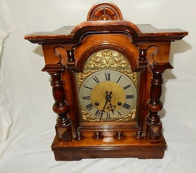 Antique Walnut Chiming Mantle Clock with Gilded & Silvered Dial