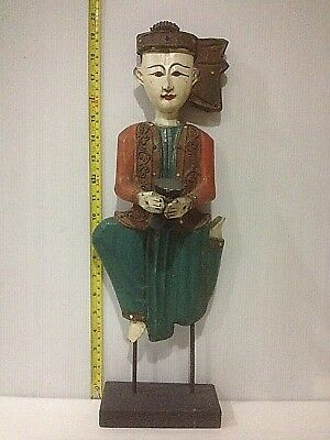 Old Burmese wooden carved musician player