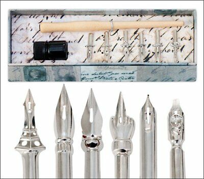 Quill Lines Set of 6 Vintage Antique Drawing Calligraphy Nibs with Pen