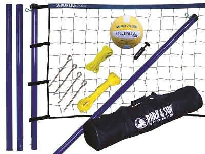 Beach Volleyball Komplett Set Mobile Netzanlage + Ball + Tasche Spiker Steel NEU