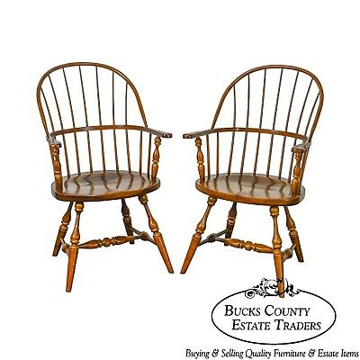 Duckloe Pair of Loop Back Windsor Arm Chairs