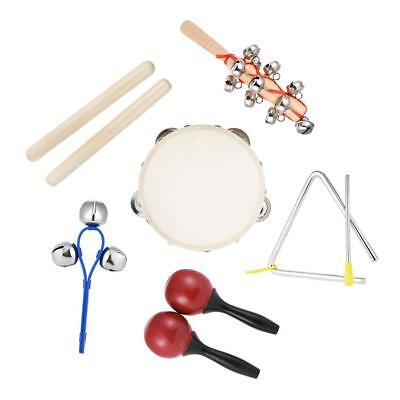 6pcs Musical Instruments Percussion Toy Rhythm Band Set Tambourine Triangle L4N4