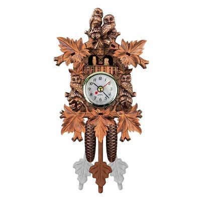 Cuckoo Wall Clock Bird Wood Hanging Decorations for Home Cafe Restaurant T1C3
