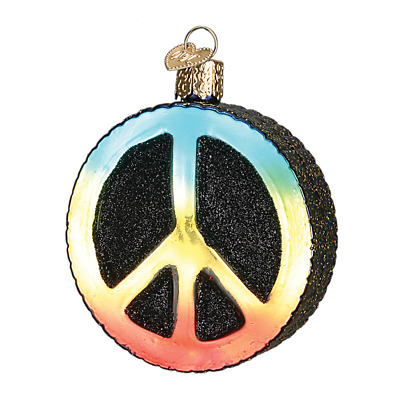 """""""Peace Sign"""" (36152)X Old World Christmas Glass Ornament w/ OWC Box"""