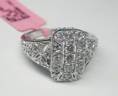 0.15CT 10K White Gold Antique Style Fashion Diamond Ring with Intricate Design