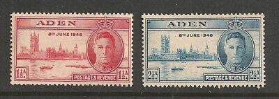 ADEN stamp Scott# 28-29 Mint NH KGVI Peace Issue 1946 Great Britain