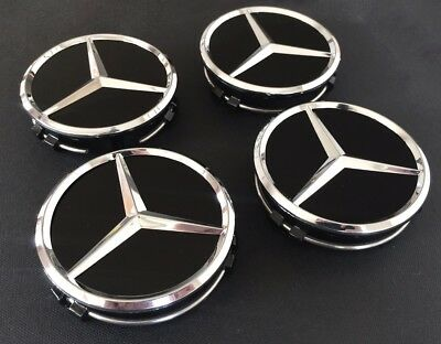 4x BLACK 75 MM Wheel Centre Caps for Mercedes- Benz
