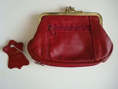 Vintage Red Leather Double Kiss Lock Coin Purse Wallet w/ bottom zip compartment