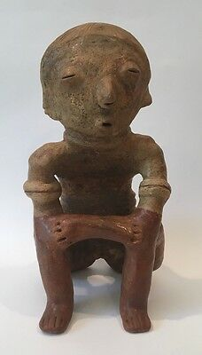 Pre-Columbian Nayarit Chinesco Solid Seated Male Ceramic Sculpture 200BC-200AD