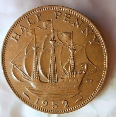 1952 GREAT BRITAIN 1/2 PENNY - AU Great Color - Excellent Coin - Britain Bin #A